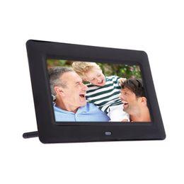 Wholesale plug alarm - Wholesale- 7inch Digital Photo Frames HD LCD Alarm Clock MP3 4 Player Slideshow Support USB interface, support U disk, support hot plug#66