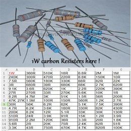 Wholesale Resistor Values - Wholesale- Free ship with track 500pcs 10R 1W DIP Resistors carbon Resisters 1W 10ohm 5% Carbon Film Resistor other value pls check page