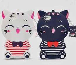 Wholesale Iphone Silicon Rubber - Cute Silicon 3D Cat For iphone 5S Case For iphone 5 SE 6 6S Plus 7 7plus Cartoon Animal Rubber Phone Back Cover