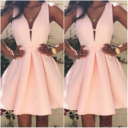 Wholesale Vintage Cocktail Dresses Sale - 2017 Hot Sale Pink Short Cocktail Dresses V neck Backless Stain Mini Stain Ruffles Prom Party Dress Custom Made Special Occasion Gowns