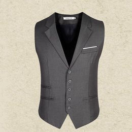 Wholesale Blazer Mens Clothing - Wholesale- Black Gray suit vest mens 2016 slim Men's gentleman Waistcoat blazer Tops Brand clothing Business Sleeveless Suit Dress Vest man