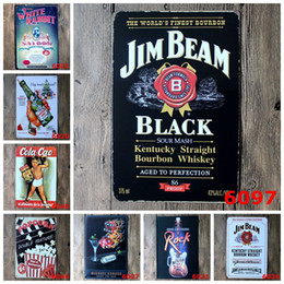 Wholesale Crafts Clocks - Wines Popcorn Antique Tin Poster 20*30cm Iron Painting Jim Beam Black Sour Mash Metal Tin Sign Beer Drinker Crafts For Gifts 3 99rjL