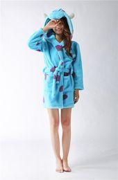 Wholesale Quality Lounge - Wholesale- High Quality 2016 Fashion Animal Blue Rhino Flannel Robe Lounge Autumn Winter Bathrobe Long-Sleeve Cartoon Robe