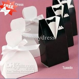 Wholesale Bride Groom Boxes - Stock 2018 Fashion White&Black Flower Bride Groom Tuxedo Wedding Candy Favor Boxes Box Gifts 100 lot