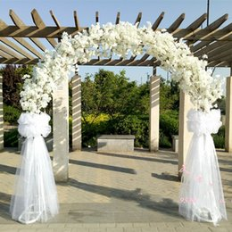 Wholesale christmas garland photos - Luxury wedding Center pieces Metal Wedding Arch Door Hanging Garland Flower Stands with Cherry blossoms flower For Wedding Event Decoration