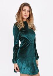 Wholesale Dress Autunm - Velvet brief style long sleeve short dress women fashion empire spring and autunm formal dress green
