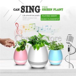 Wholesale Big Plastic Plant Pots - Hot Mini Smart Music Flowerpot Touch Sensor Bluetooth speaker Flower pot Colorful Light Green plant decorative Macetas Wireless Loudspeaker