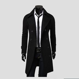 Wholesale Double Breasted Coat Camel - Wholesale- Free shipping New Men's Long Woolen Jacket Fashion Solid Double Breasted Men Trench Coat Color Black,Camel,Gray