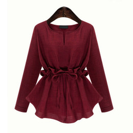 Wholesale Red Chiffon Blouse Long Sleeve - Autumn Spring Women Blouses Outfit New Plus-Size 3-5XL Show Thin Waist Long-Sleeved Cotton And Linen Jacket Blouse
