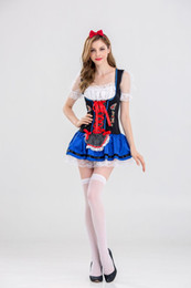 Wholesale White Pirate Costume - New Design Sexy Beer Girl Costume 3 Pieces Germany Oktoberfest Outfits Women White Top Green Overalls Fashion Beer Maid Uniform