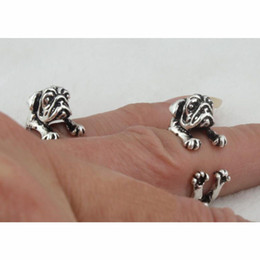 Wholesale Vintage Pug - 60pcs lot Knuckle Ring Vintage Punk Pug Dog-design finger Rings Hippie Rings Women Men FineJewelry wholesale