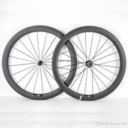 Wholesale Rear 24 Bicycle Wheel - 700C 50mm Depth 23mm Width Full Carbon Bike Wheels Clincher Tubular Bicycle Wheelset With Powerway R36 Hubs Black 20 24 Spokes And Nipples