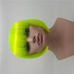 Wholesale Rave Hair - XT717 Fashion Fluorescent Green Synthetic Women's Short Anime Short Hair Celebrity Rave Full Wigs Cosplay Party Straight Synthetic Hair