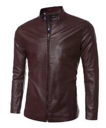Wholesale Leather Brief Paragraph - Men's fashion trend in new han edition boutique personality zipper collar brief paragraph pure color locomotive leather jacket M - 2 xl