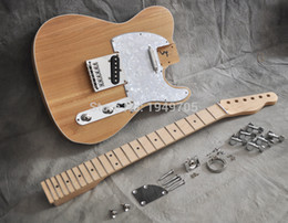 Wholesale Diy Unfinished Guitars - Wholesale-Solid Body DIY Electric Guitar Builder Kit Project Elm Body Mape Neck and Fingerboard Unfinished TL Style