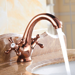 Wholesale Sink Faucets - Rose Gold Faucet Double Handle Single Hole Bathroom Sink Mixer Faucet Vintage Hot and Cold Water Face Mixer Tap Deck Mounted