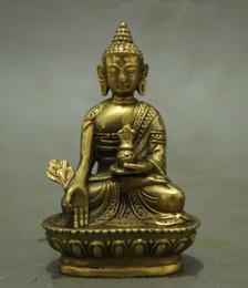 Wholesale Antique Collectible Figurines - Folk Tibet Tibetan Brass Shakyamuni Medicine Buddha Statue Figurine