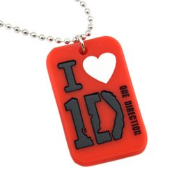 """Wholesale I Heart One Direction - Hot Sell 1PC I Love 1D One Direction Silicon Dog Tag Necklace With 24"""" Ball Chain 4Colours for Choose"""