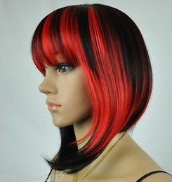 Wholesale Short Sexy Wig - Fashion Women's ladies sexy short Black&Red Straight full wigs+free wig cap