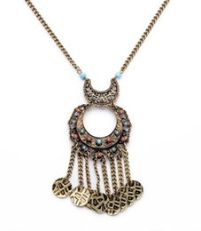 Wholesale Jewelry Antique Lady Pendant - Retro America Lady Bohemia Antique Bronze Color Round Charm Pendant Tassel Long Pendant Necklace for Women Jewelry