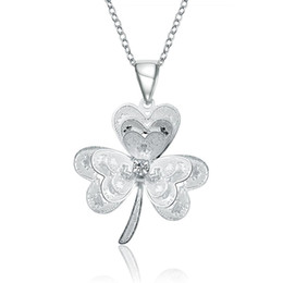 Wholesale Korean Lucky Necklace - Korean Design Cute Lucky Clover Pendant & Necklace for Women Jewelry Friendship Accessories Fashion Personality Silver Plated Necklace Gifts