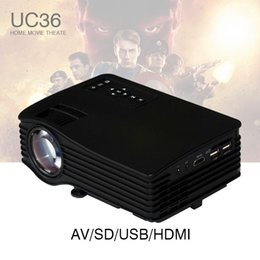 Wholesale home theater portable dvd projector - Wholesale- LED LCD Mini Portable 1080P Projector Proyector UC36 with HDMI AV USB SD Home Theater Beamer kid toy gifts for PC DVD TV Phones