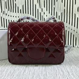 Wholesale Cowhide Tote Handbags - New Fashion Women CF Mini17 Bag Cowhide Handbags Patent leather Claret Shoulder Bag 1115