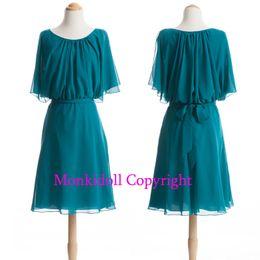 Wholesale Bridesmaid Discount - Discount Bridesmaid Dresses 2017 Ruched Sash Chiffon Arabic Dubai Knee Length Brides Maid Dress Shawl Cheap Wedding Guest Gowns Party Gown