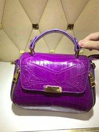Wholesale Purple Belly Bag - Famous brand design Alligator belly ladies handbag with alligator leather strap Fashion Classic and elegant bag Top original quality