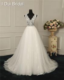 Wholesale Custom Measurements - A Line Light Wedding Dresses Appliqued Beaded Factory Real Photo Custom Made to Measurements Wedding Gown