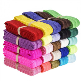 Wholesale fold over elastic hair ties - 50yards Fold Over Elastic Stretch Foldover FOE Elastics for Hair Ties HeadBands Variety Color