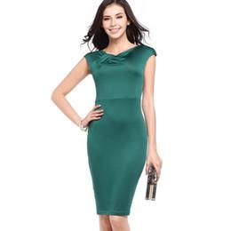 WomenClassic Patchwork Slim Sleeveless schicke aussehen Bleistift Kleid Wear Work Bodycon ausgestattet Karriere Female Fashion V-Ausschnitt Solid Stretch Kleider von Fabrikanten
