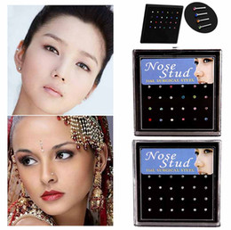 großhandel edelstahl nase ring Rabatt 2017 Hot Wholesale Surgical Steel Small Nose Ring Fashion Body Jewelry 8MM Length Nose Studs Stainless Piercing Crystal Stud Free Shipping