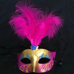 Wholesale Cute Wedding Masks - Mini Mask Venetian Masquerade Feather Mask Party Decoration Cute Wedding Gift Carnival Mardi Gras Prop Mix Colors