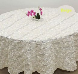 Wholesale Tablecloth Round Plain White - Wholesale White color 1.2 m Wedding Round Table Cloth Overlays 3D Rose Petal Tablecloths for Banquet Wedding Party Decoration pink red blue
