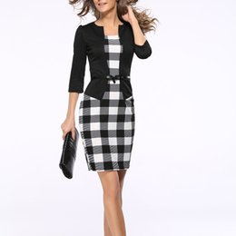 Wholesale Two Piece Night Club Wear - Wholesale- Women Retro Vintage Faux Two Piece Dress Lady Plaid Long Sleeve Pencil Dress Office Wear Outfits Plus Size with sashes