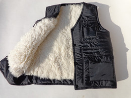 Wholesale Leather Vest Fleece - Wholesale- Real fur male vest waistcoat thermal vest men's clothing genuine leather liner wool sheepskin black berber fleece