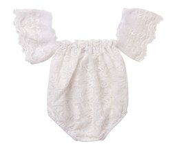 Wholesale Flying Outfits - INS White Full Lace Girls Rompers Summer Infant Baby Girls Flower Butterfly Fly Sleeves Rompers Sweet Outfit Princess Clothes 0-2T