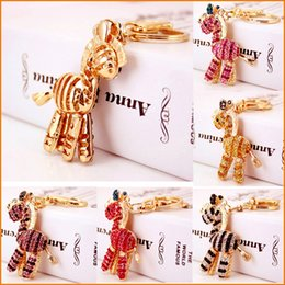 Wholesale Handmade Purse Crystal - Pink Red Gold Zebra Horse KeyChain, Fashion Rhinestone Crystal Purse Bag Key Chain, Women Girl Gift Original Handmade Souvenir