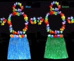 Wholesale Double Set 4pc - 40cm Double Layers Hawaiian Hula Grass Skirt + 4pc Lei Set for Child Luau Fancy Dress Costume Party Beach Flower Garland Set