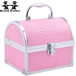 Wholesale Box Brother - Wholesale- wenjie brother New hot selling Make up Box with mirror Makeup Case Beauty Case Cosmetic Bag Lockable Jewelry Box for ladys gift