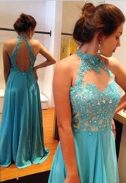 Wholesale Flowing Prom Dresses - Hot Sale Blue Appliques Beaded Open Back Halter Prom Dresses Long Women Flowing Chiffon Evening Maxi Gowns Chic Graduation Dress