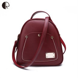 Wholesale Cell Phones Shell Shapes - Wholesale- New Women Wine Red Backpacks Brand Designer Shell Shape Preppy Style School Bags Rivet Apple Pattern Fashion Bags BP572