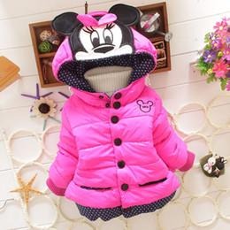 Wholesale Coat Warm Outwears Kids - Hug Me Girls Outwear Christmas Kids Clothing 2016 Winter Fashion Long Sleeve Warm Cartoon Mickey Coat ER-802 SO