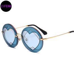 Wholesale Layers Sunglasses - Z F Fashion Women Round Style Triple Layer Lense Sunglasses Brand Design Girl Heart Shape Sun Glasses A181