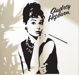 Wholesale Audrey Hepburn Decor - Fashion Goddess Audrey Hepburn Wall Decal Stickers Home Decor Makeup Audrey Removable Vinyl Sticker Living room Mural D200