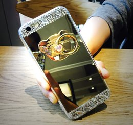 Wholesale Gold Diamond Phone - For iPhone 7 case Luxury bling diamond holder Electroplating mirror phone Cases TPU Cover For iPhone 6S 7 Plus Samsung Galaxy S6 S7 Edge S8