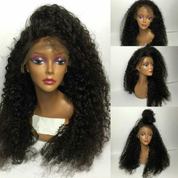 Wholesale Wig Japan - Cheap Top Sale 200% Density Natural Black Color Wigs curly Synthetic Lace Front Wig Glueless Heat Resistant Japan Fiber Lace Wig