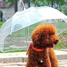 Canada En gros 100 pcs / lot Transparent PE Parapluie pour animaux de compagnie Petit chien Parapluie Vêtements de pluie avec chien mène garde l'animal au sec à l'aise sous la pluie Offre