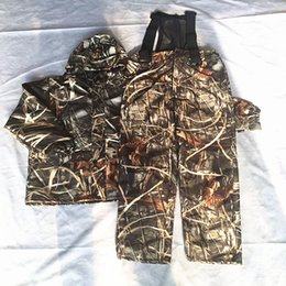 Wholesale Hunting Camouflage Clothing - Dropshipping Marsh & Filed Reeds Bonic Hunting Suit Hooded Hunting Clothes Waterproof Breathable Camouflage Clothing Jacket+Pants Set